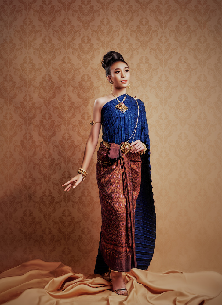 Thai Traditional Dress in Blue by David Sala