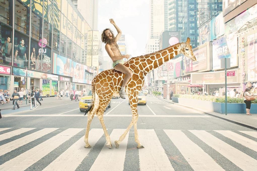 Matthew riding a giraffe. by Damian Battinelli
