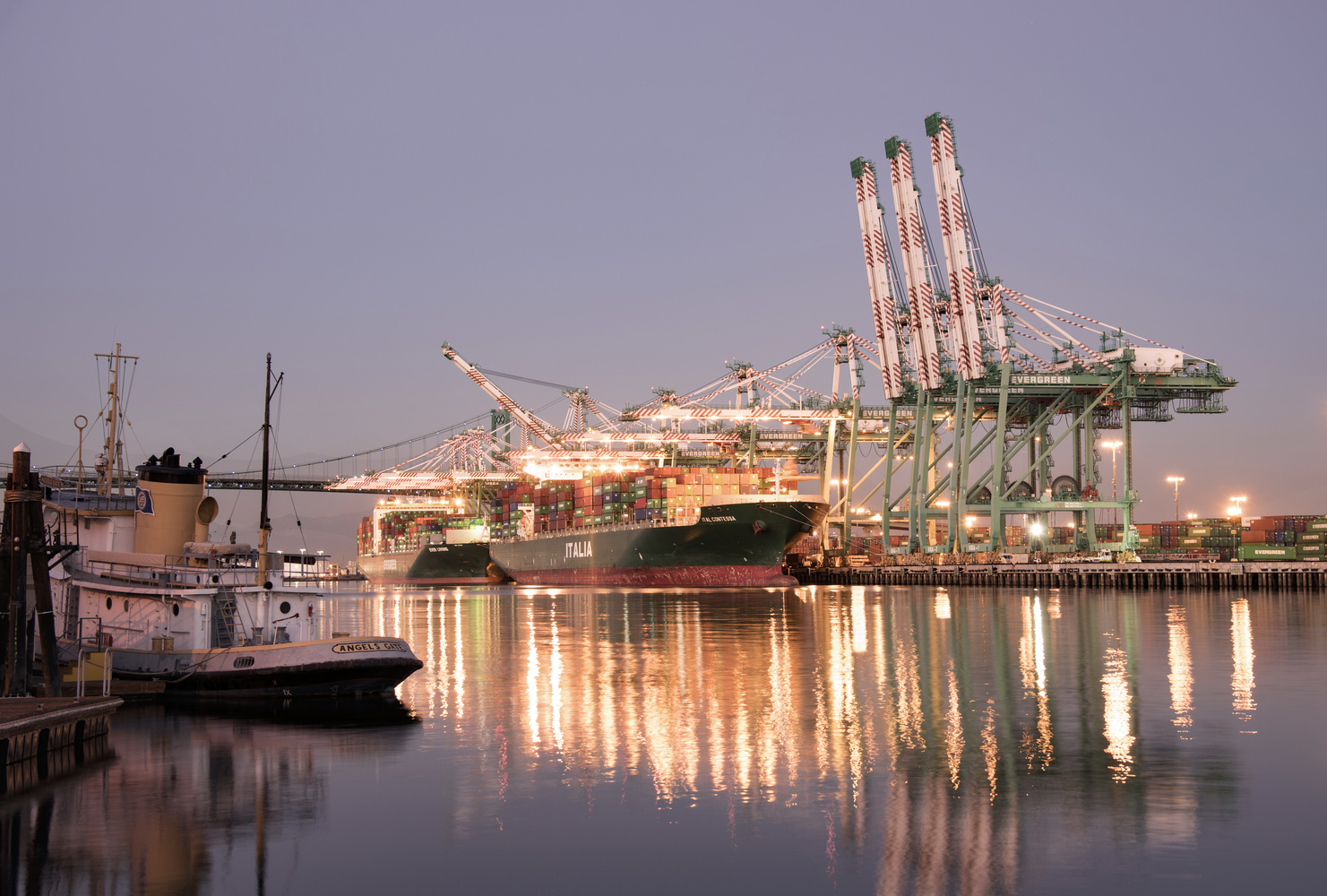 Sunset over the Port of Los Angeles by Richard Mager