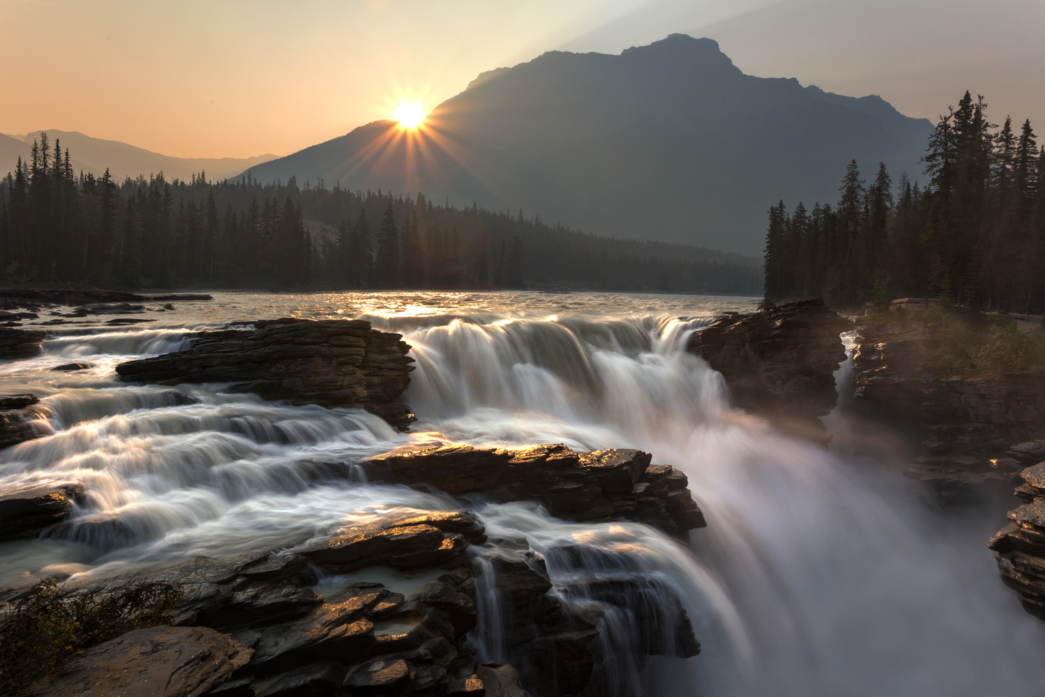 Hazy Sunrise at Athabasca Falls by Nick Souvall