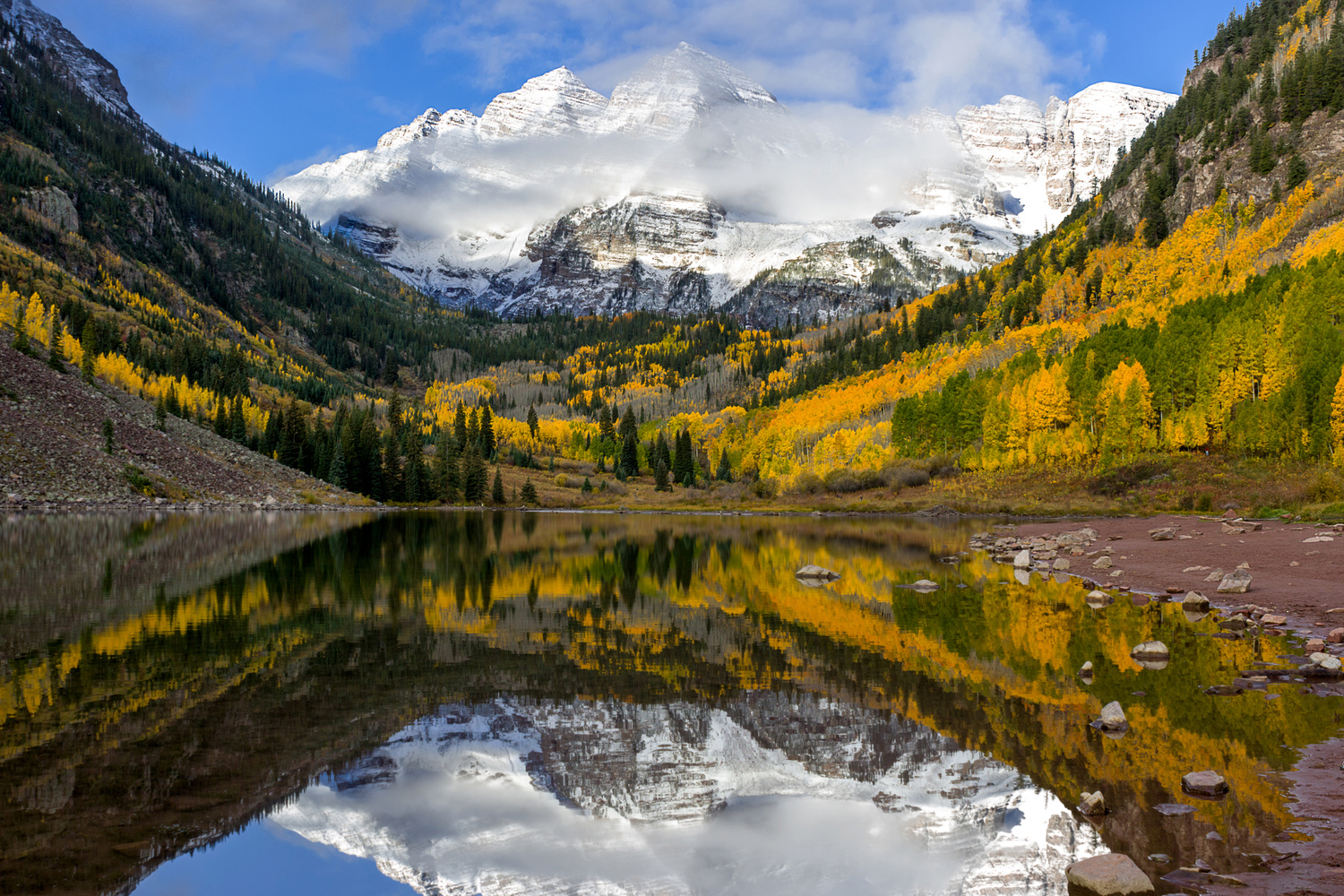 Fall Morning at the Maroon Bells by Nick Souvall