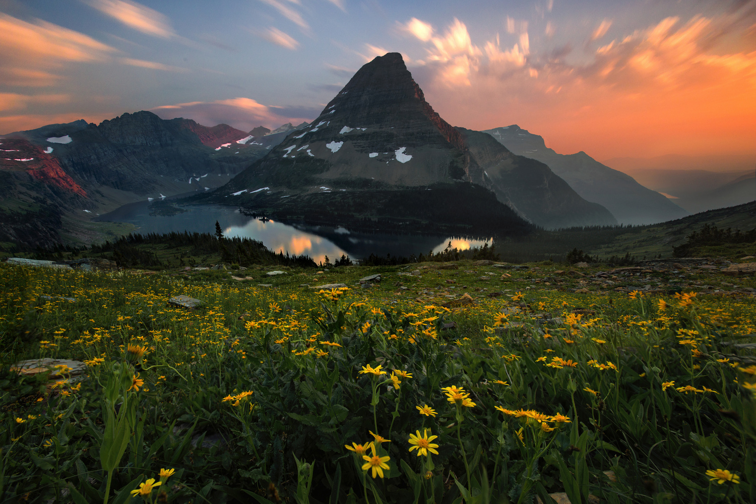 Beautiful Sunset in Glacier National Park by Nick Souvall