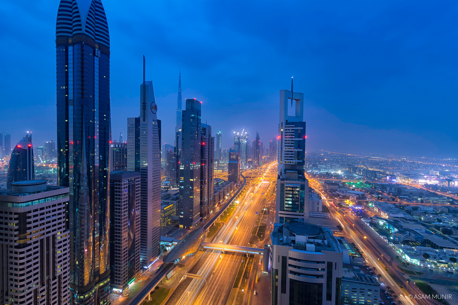 Sheikh Zayed Road - Blue hours by Asam Munir
