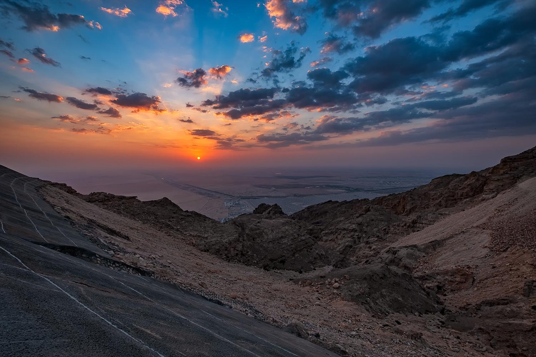 Sunset at Jebel Hafeet mountain Al Ain by Asam Munir