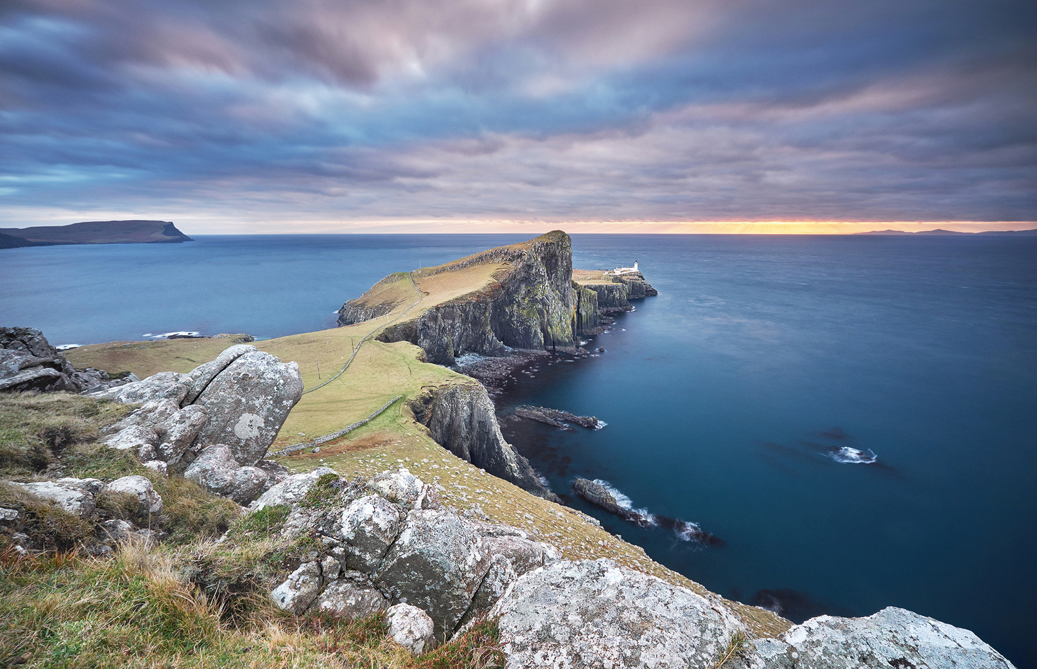 Sunset on the Neist Point lighthouse by Lionel Fellay