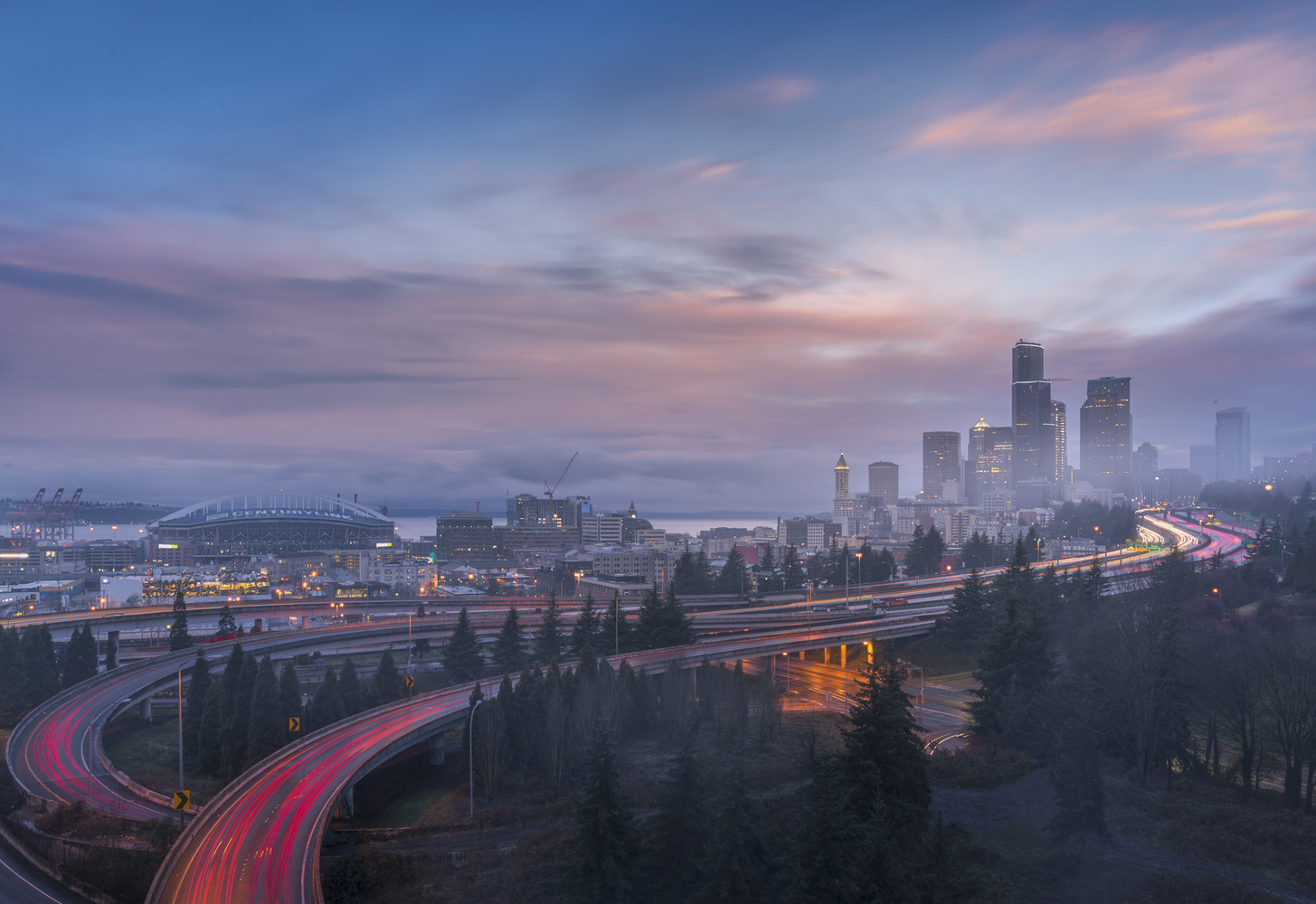 New Year's Sunrise Seattle by Bogdan Tishchenko