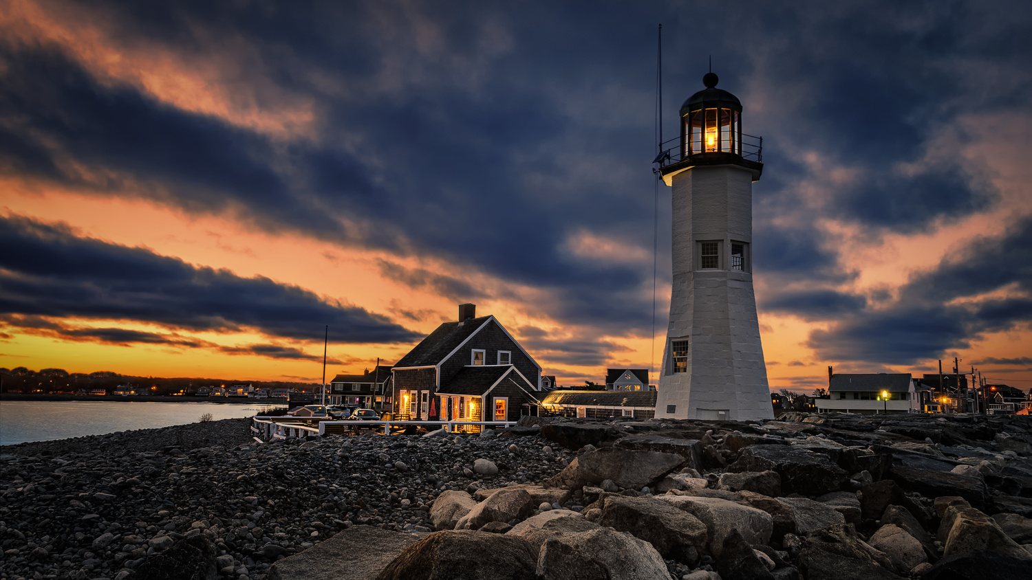Boston / Cape Cod - Scituate Lighthouse Sunset by Stas F
