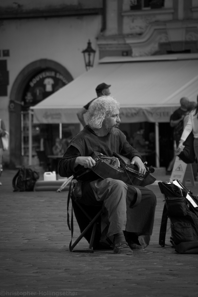 Street musician by Christopher Hollingsether