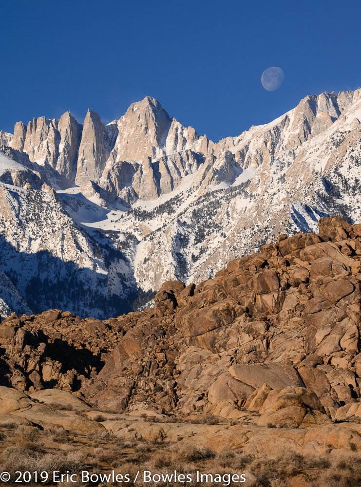 Mount Whitney with Setting Moon by Eric Bowles
