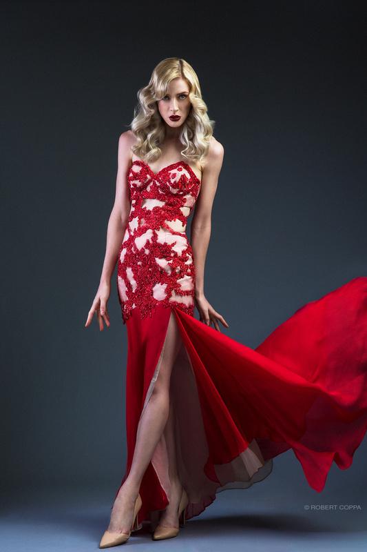 Gemma in Red Dress by Robert Coppa
