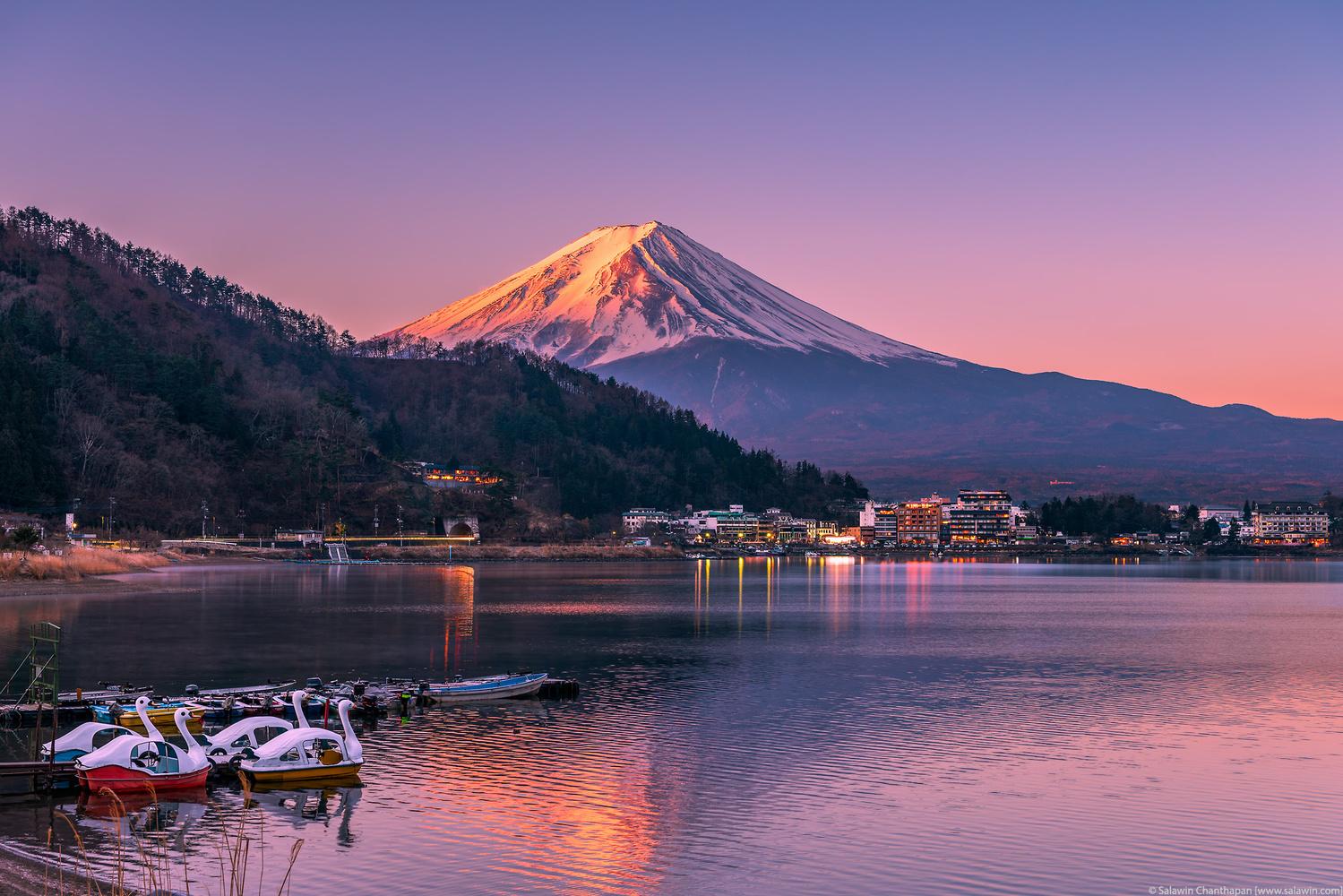 First Light Hitting the Summit of Mount Fuji at Lake Kawaguchi by Salawin Chanthapan