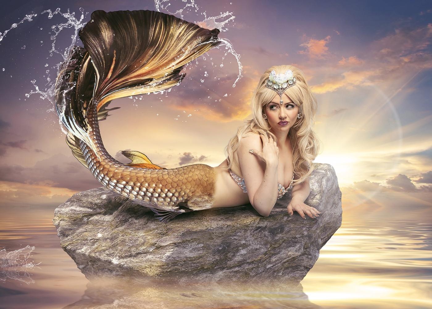 Mermaid on a rock by Dominic Deacon