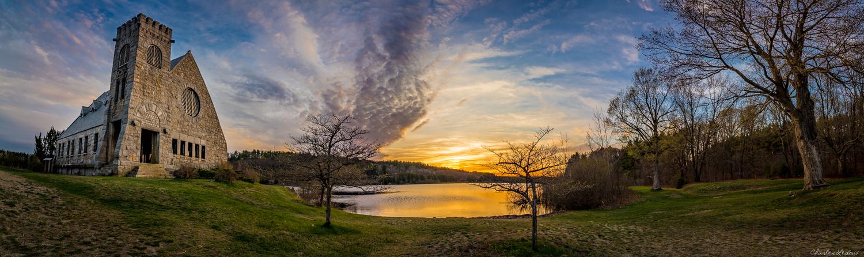 Stone Church - Wachusett Reservoir Sunset by Charles Ledoux