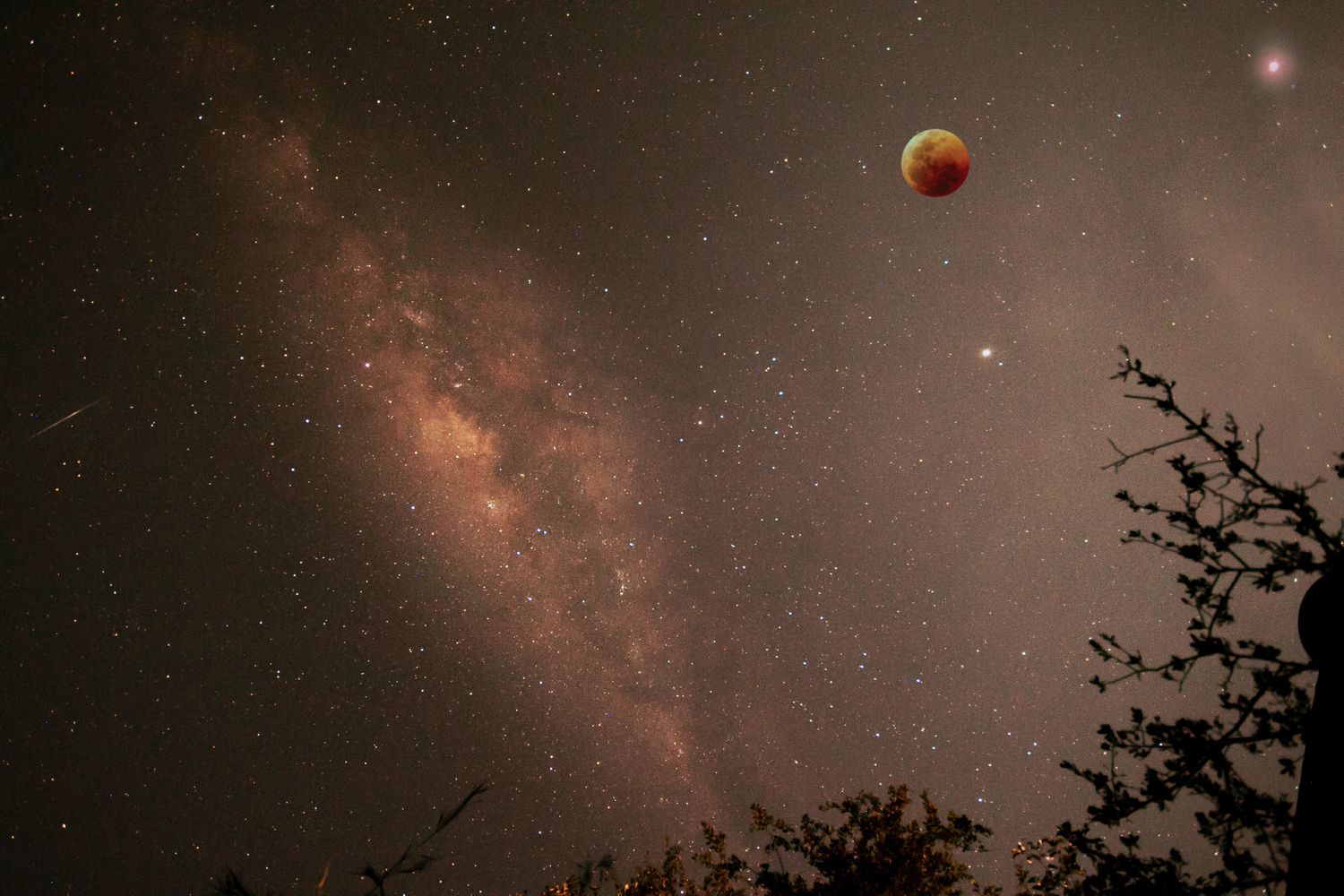 Milky way and lunar Eclipse  by Ken Stavrou