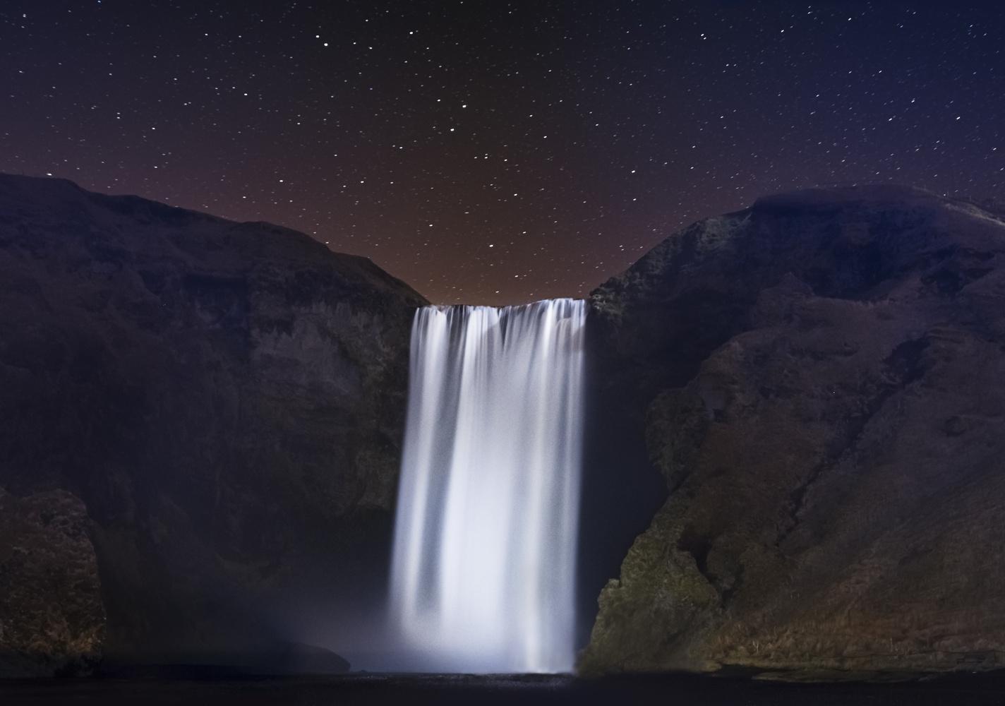 Skogafoss at night by Mark Briffa