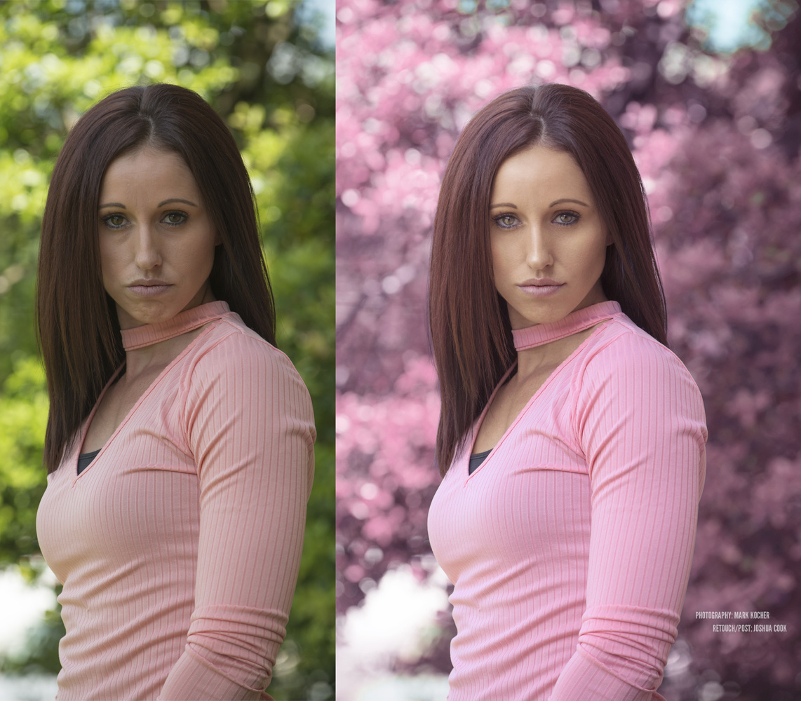 Pink Portrait before after by Joshua Cook