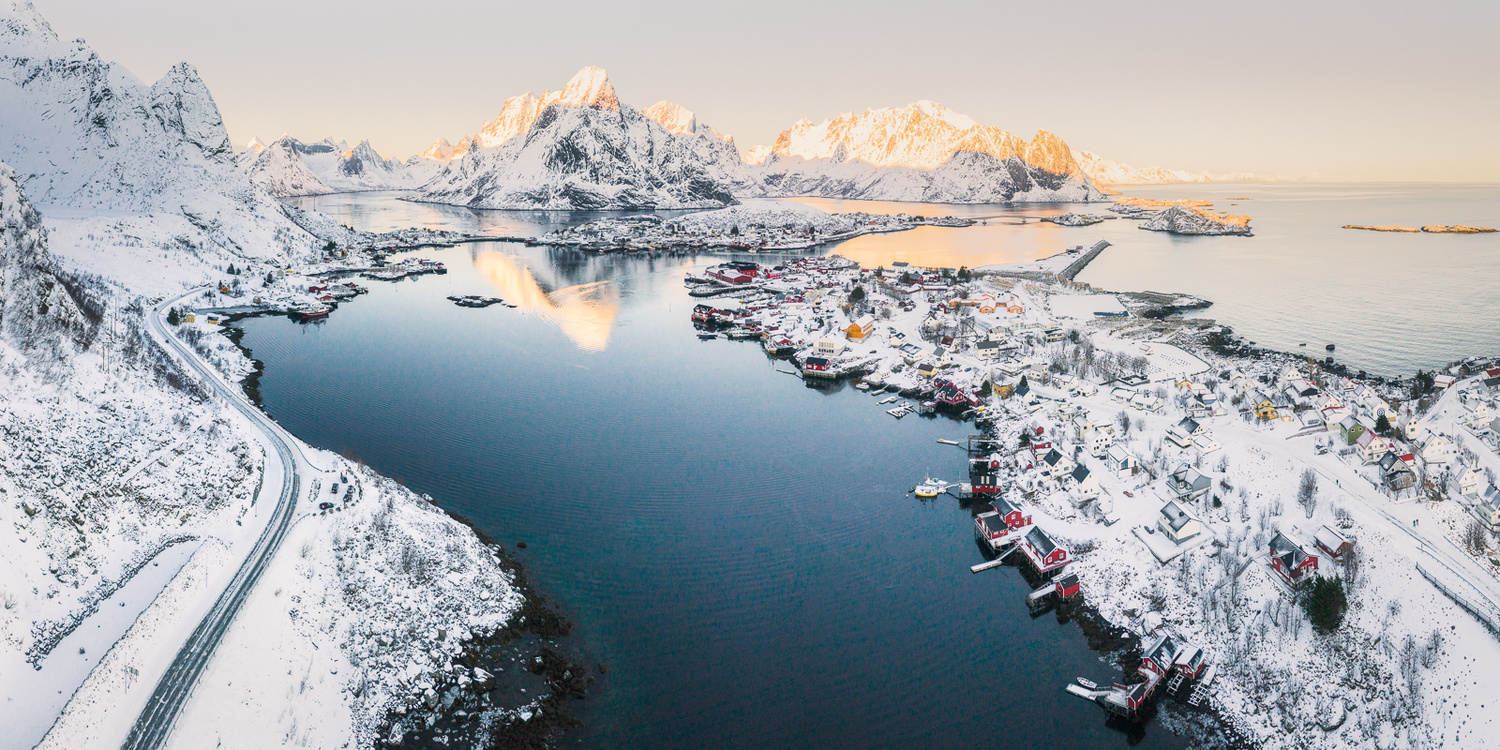 Reine in winter afternoon from the sky by MasaHiro IKEDA