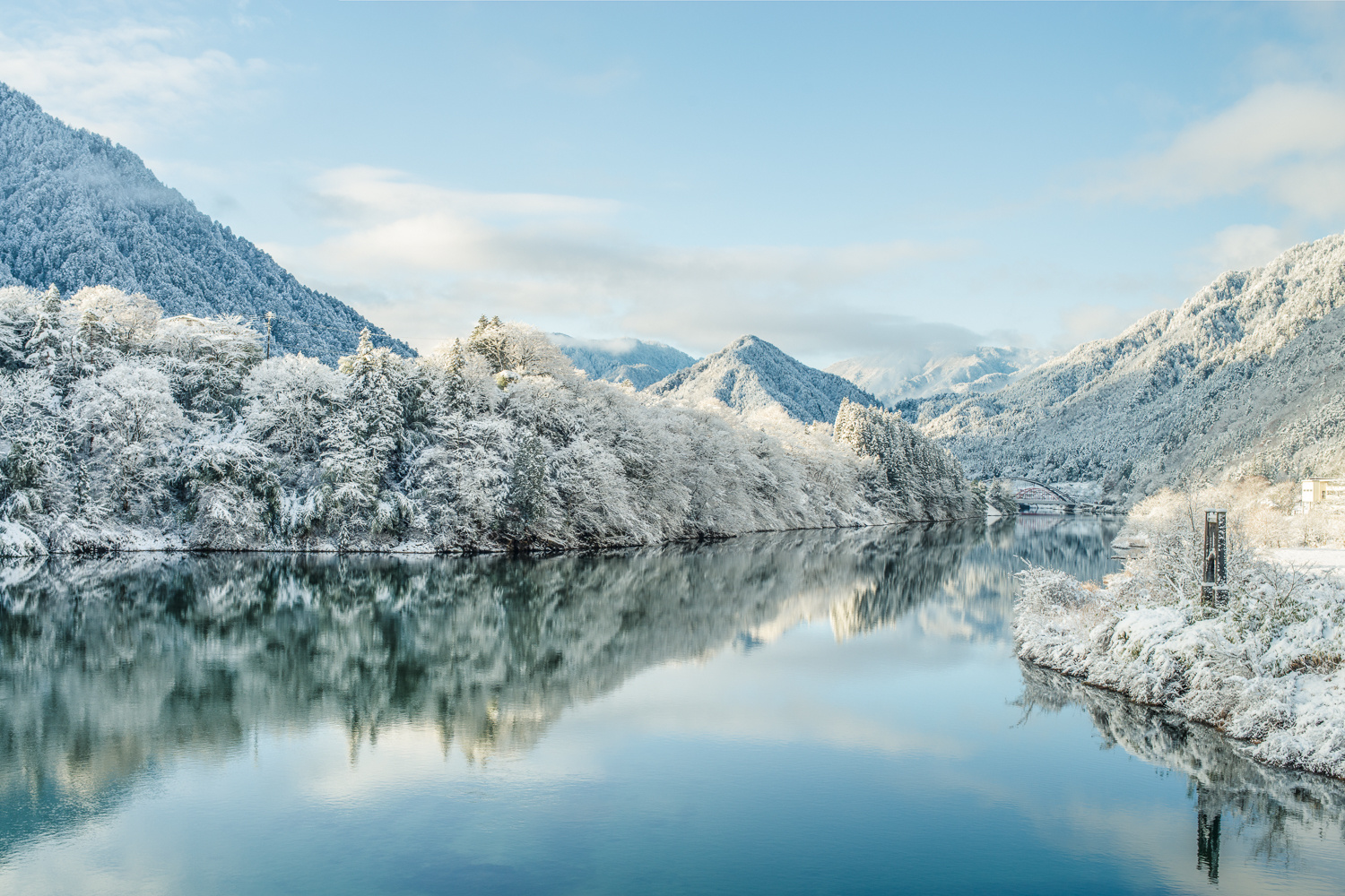 River Kiso with snowy mountains by Masahiro Ikeda