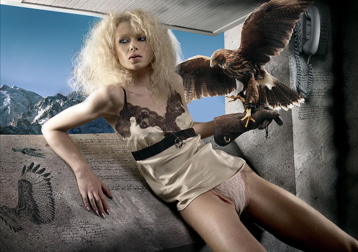 Girl with hawk by Mark Eilbeck