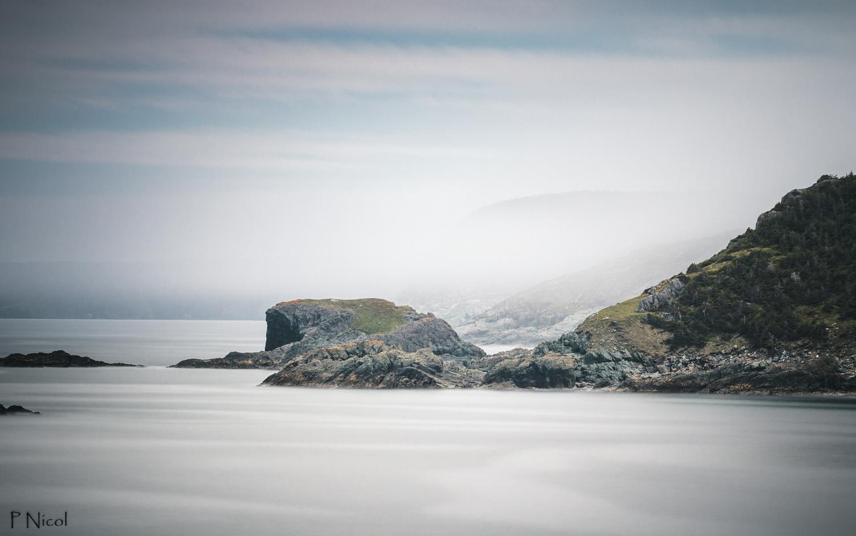 Rocky Newfoundland coast in Fog by Paul Nicol