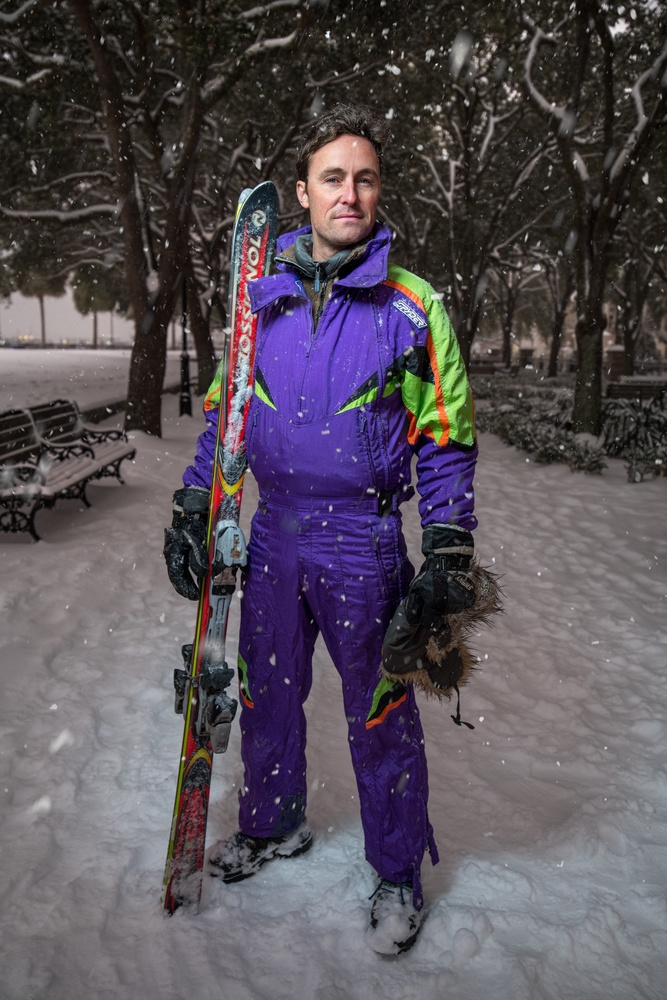 Charleston Snow Storm Ski Portrait by Patrick Hall