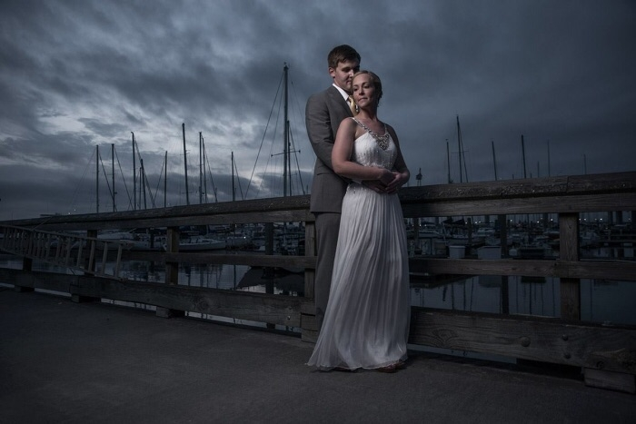 Wedding couple with Profoto B1 and small octabox by Patrick Hall
