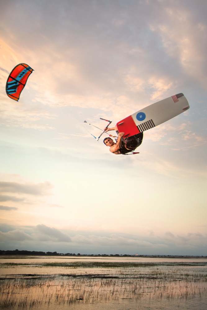 Kiteboarding over the Marsh by Patrick Hall