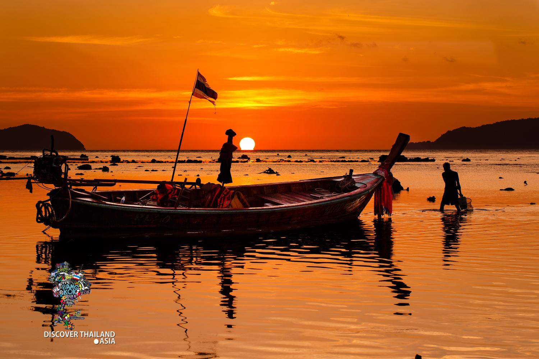 Thailand Fisherman Working at Sunrise by David Pritchard