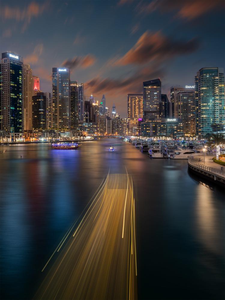Twilight Scene at Dubai Marina by Jay Tana
