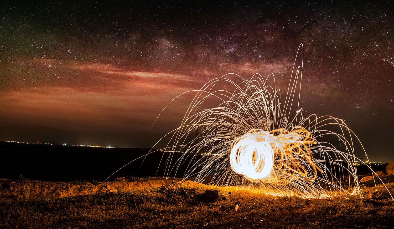 Fire Spider Under The Milkyway by Mantis B
