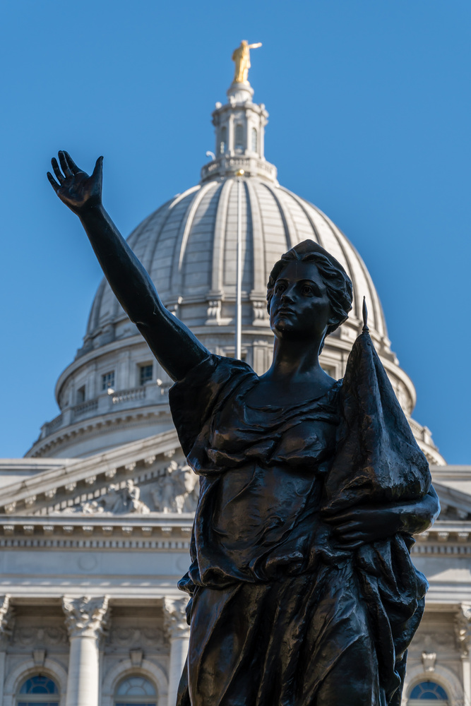 """Statue """"Forward"""" at Wisconsin Capitol by Charles Haacker"""