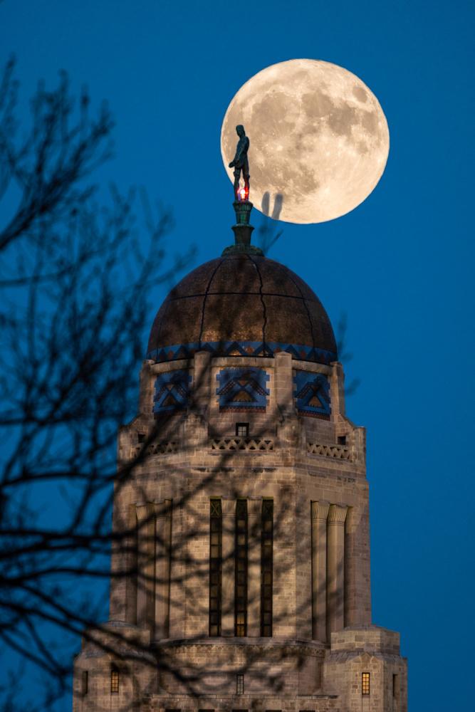 Composite, Moonrise over Nebraska Capitol by Charles Haacker
