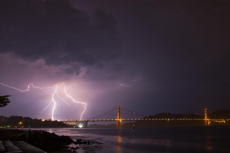 Lightning bolt Golden Gate Bridge by Dinno Kovic