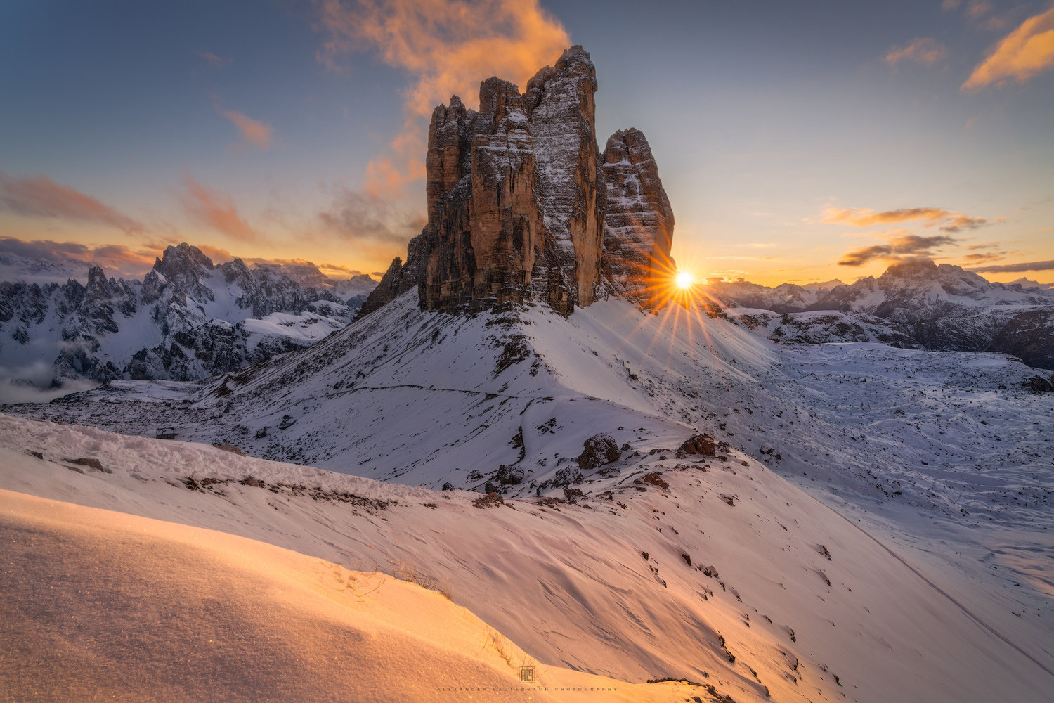 Snowy sunset at Tre Cime by Alexander Lauterbach