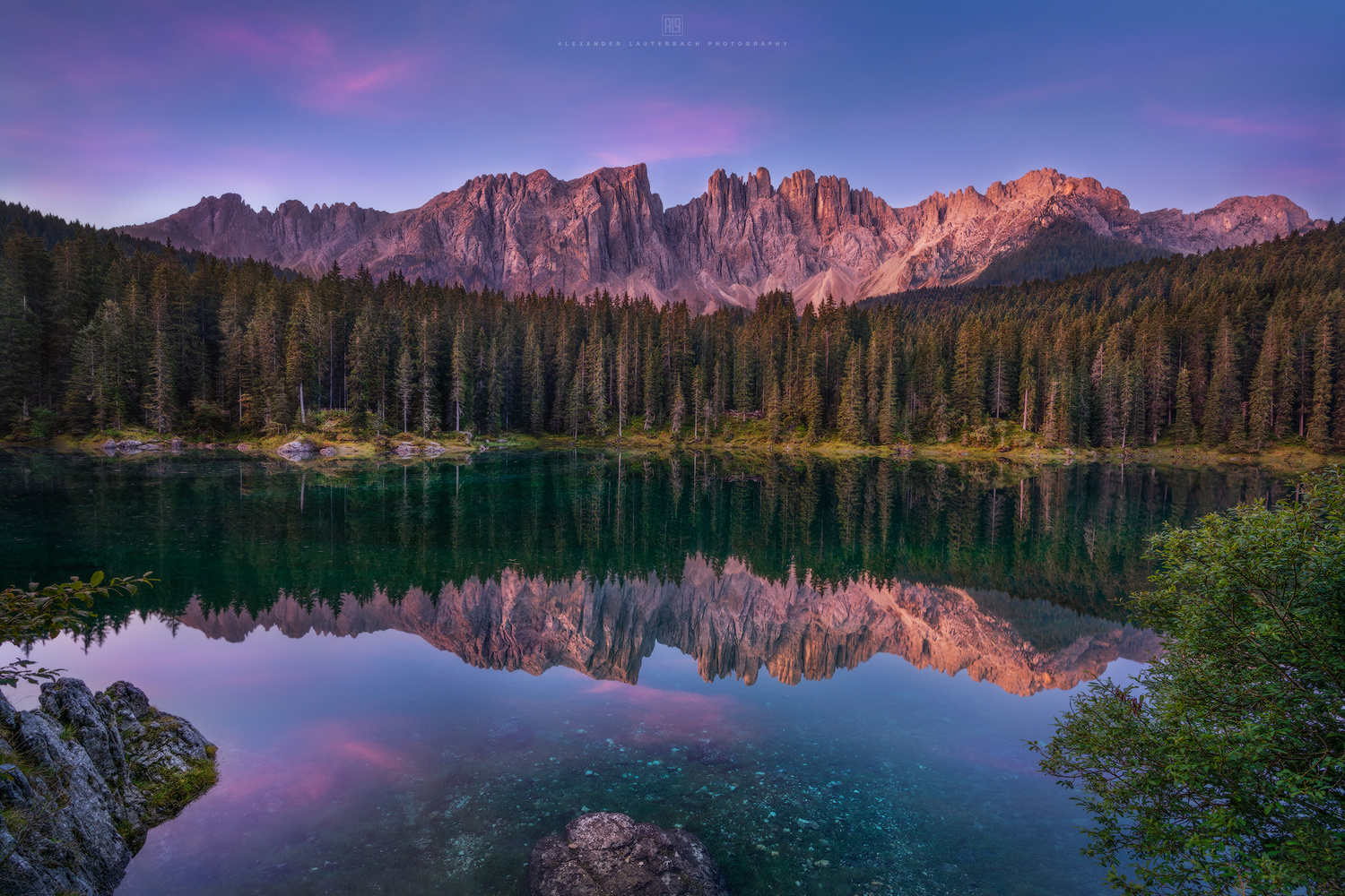 Morning dawn at lago di Carezza by Alexander Lauterbach