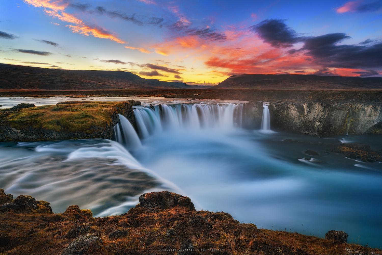 Goðafoss sunset by Alexander Lauterbach