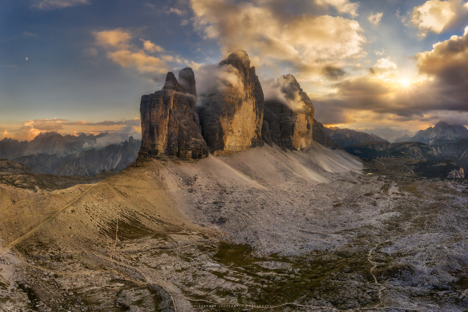 Sunset at Tre Cime di Lavaredo by Alexander Lauterbach