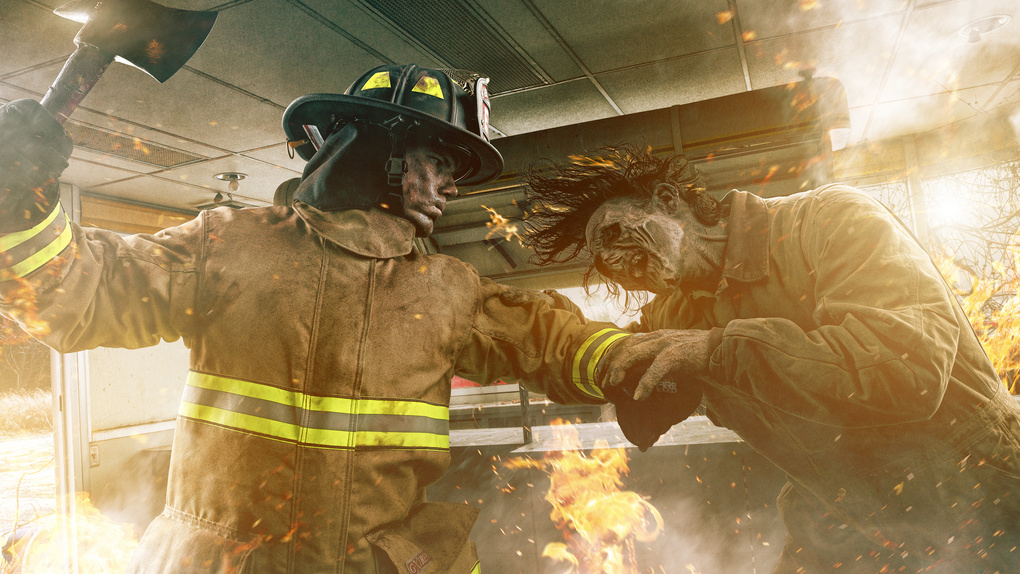 Zombie VS Firefighter by Brandon Cawood