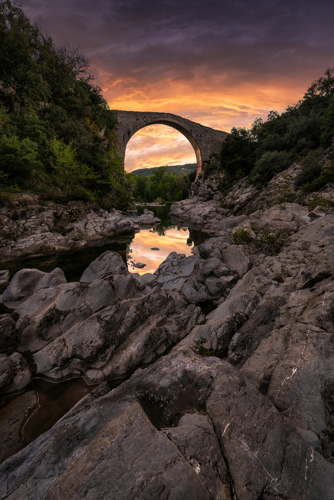 Warm sunset at Llierca by josep cg