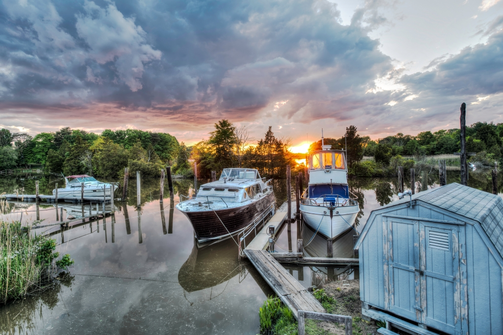 Sunset at Flanigan's Boat Yard by Michael B. Schuelke
