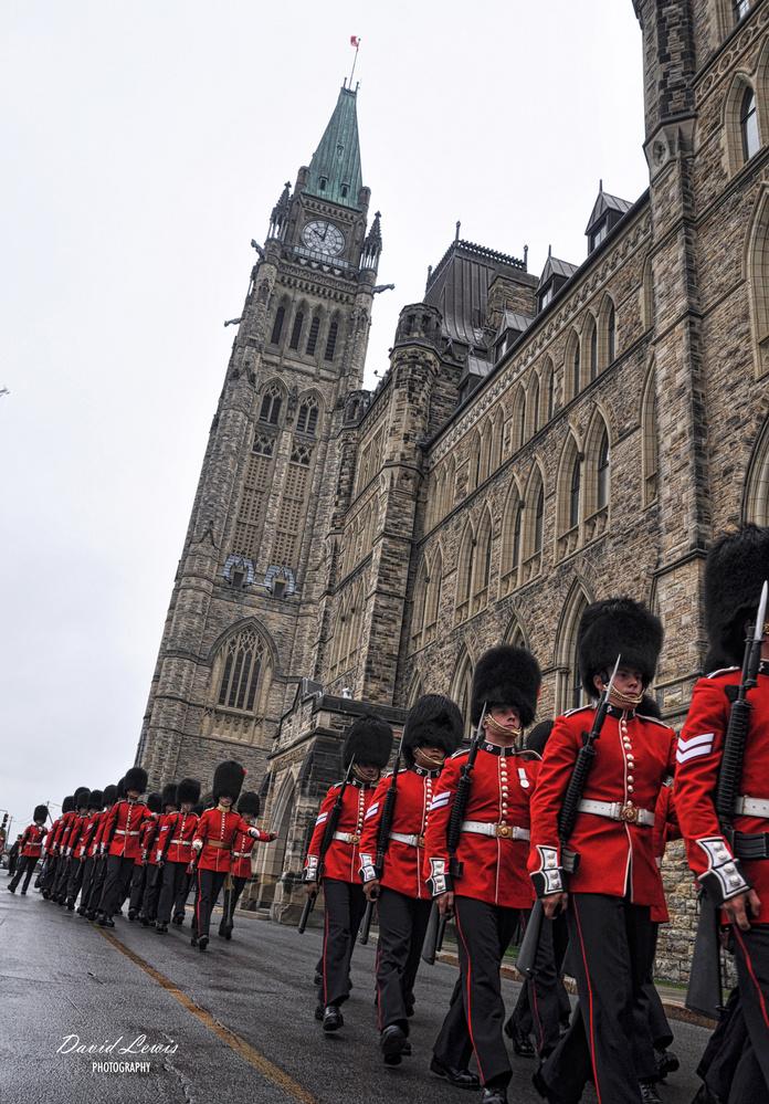 Ceremonial Guard Passes Parliament Building by David Lewis