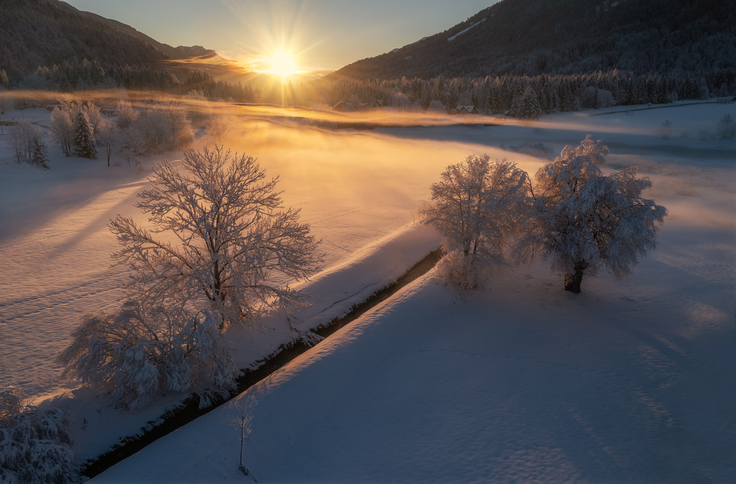 Winter morning by Ales Krivec