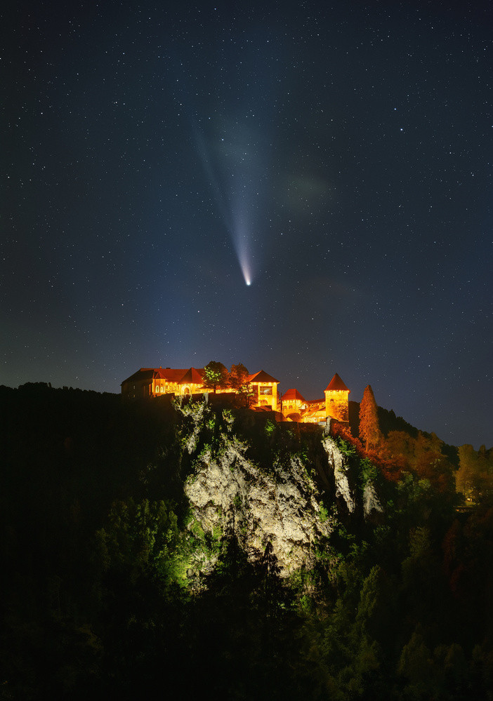 Comet NEOWISE and Bled castle by Ales Krivec