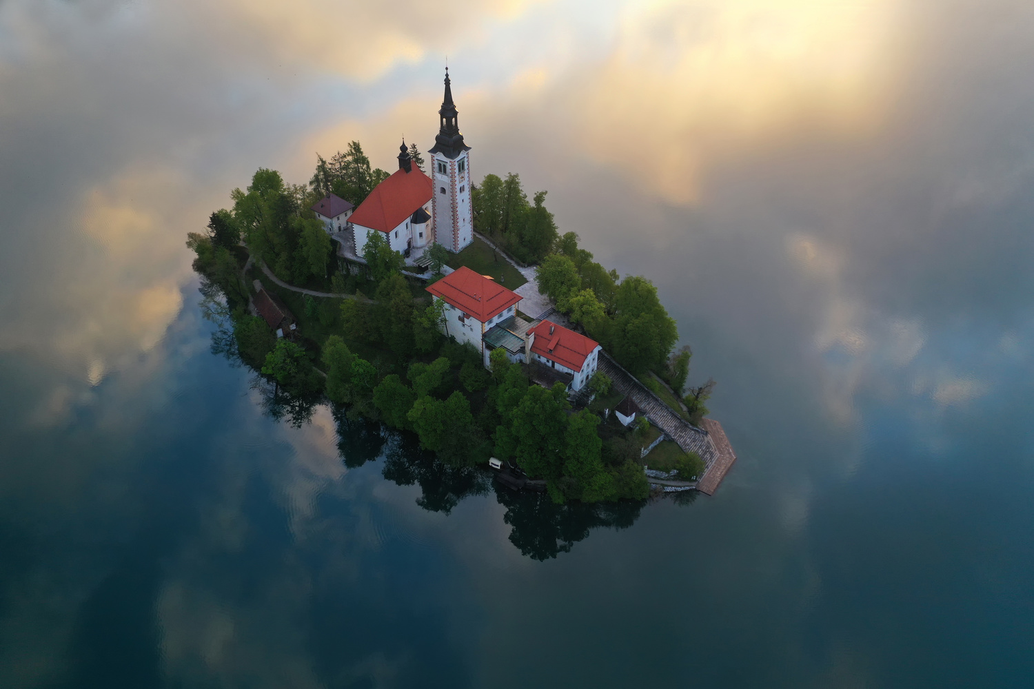 Aerial view of Lake Bled by Ales Krivec