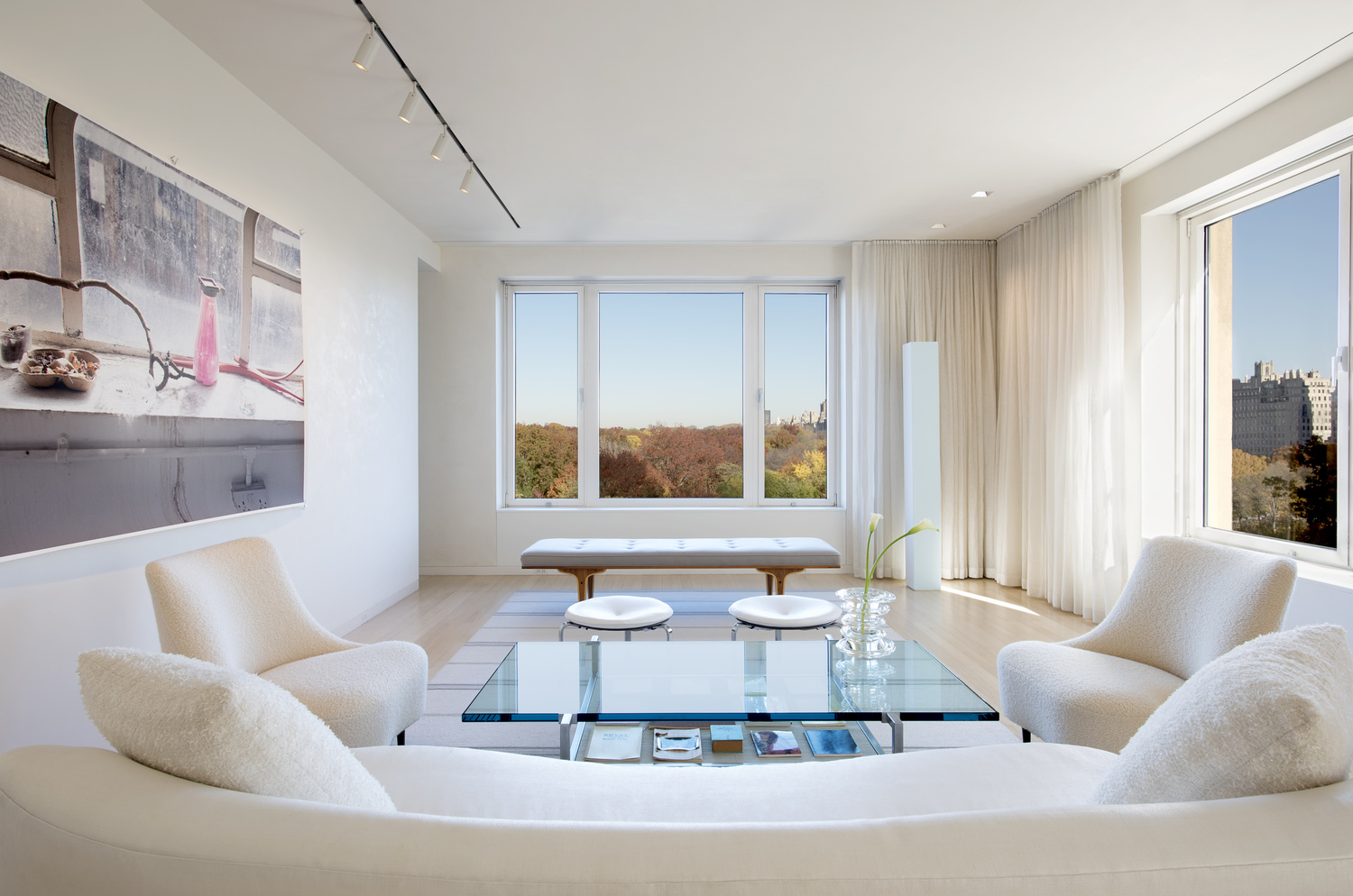 Central Park South Residence, Living Room With View To Central Park by Graham Hebel