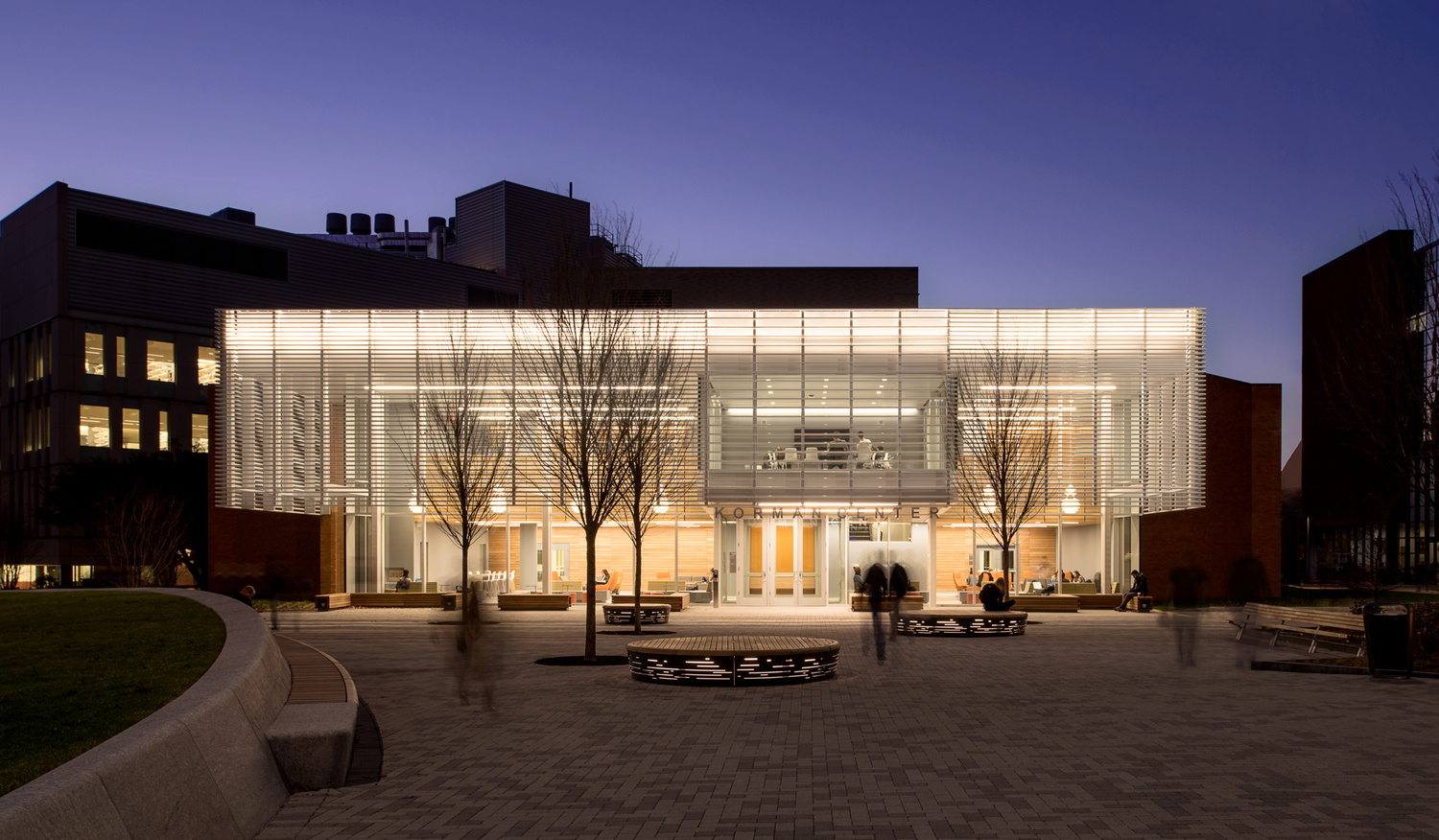 Korman Center, view from quad, dusk by Graham Hebel