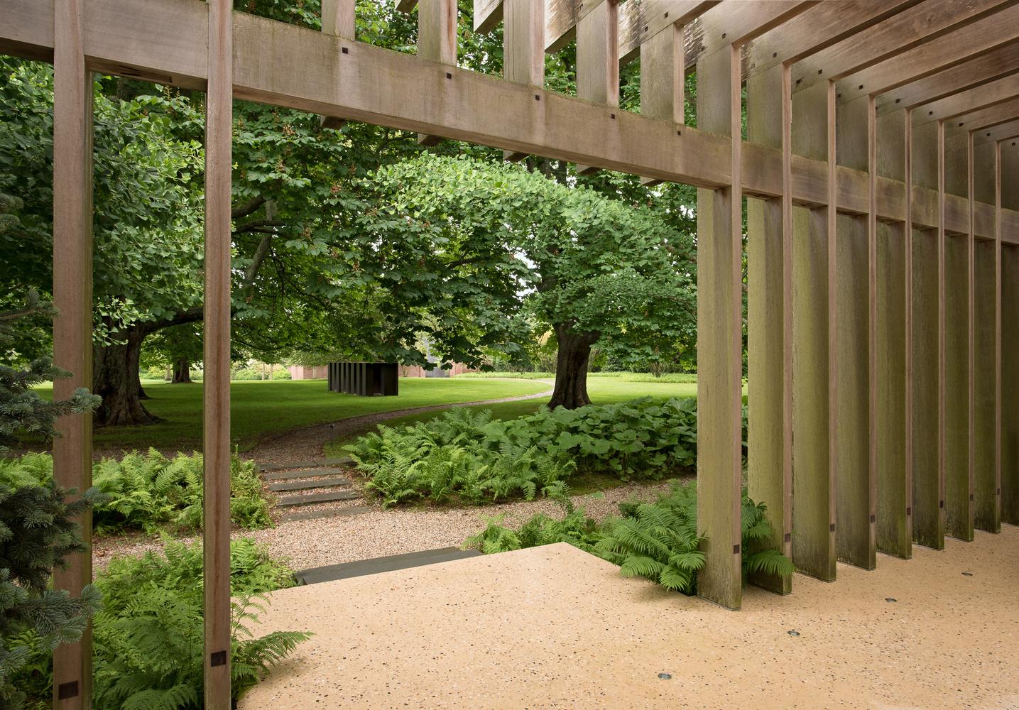 Noguchi Garden Pavilion, View to Art Walk by Graham Hebel