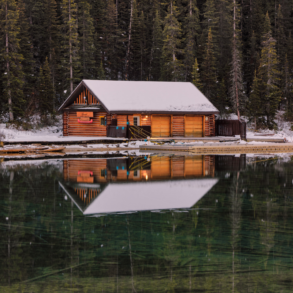 The boat house at Lake Louise by David Penner