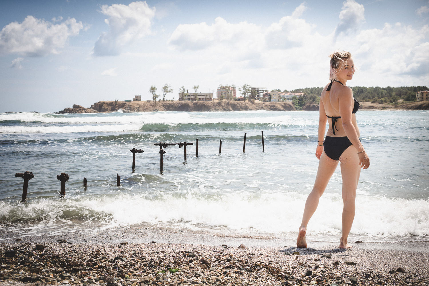 Zofia on the beach at Ahtopol, Bulgaria by Andy Day