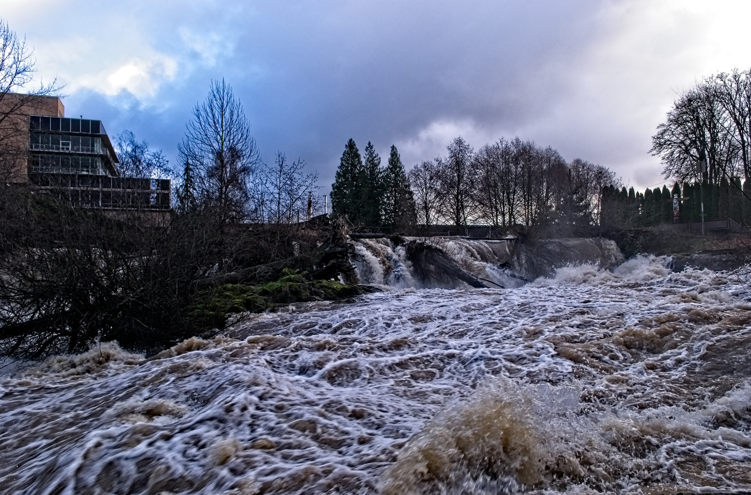 Tumwater Falls after a winter storm . by Shawn Donnelly